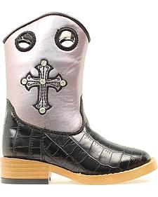 Blazin Roxx Girls' Sonora Croc Print Cowgirl Boots - Square Toe