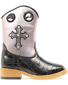 Blazin Roxx Children's Sonora Croc Print Zipper Cowgirl Boots - Square Toe