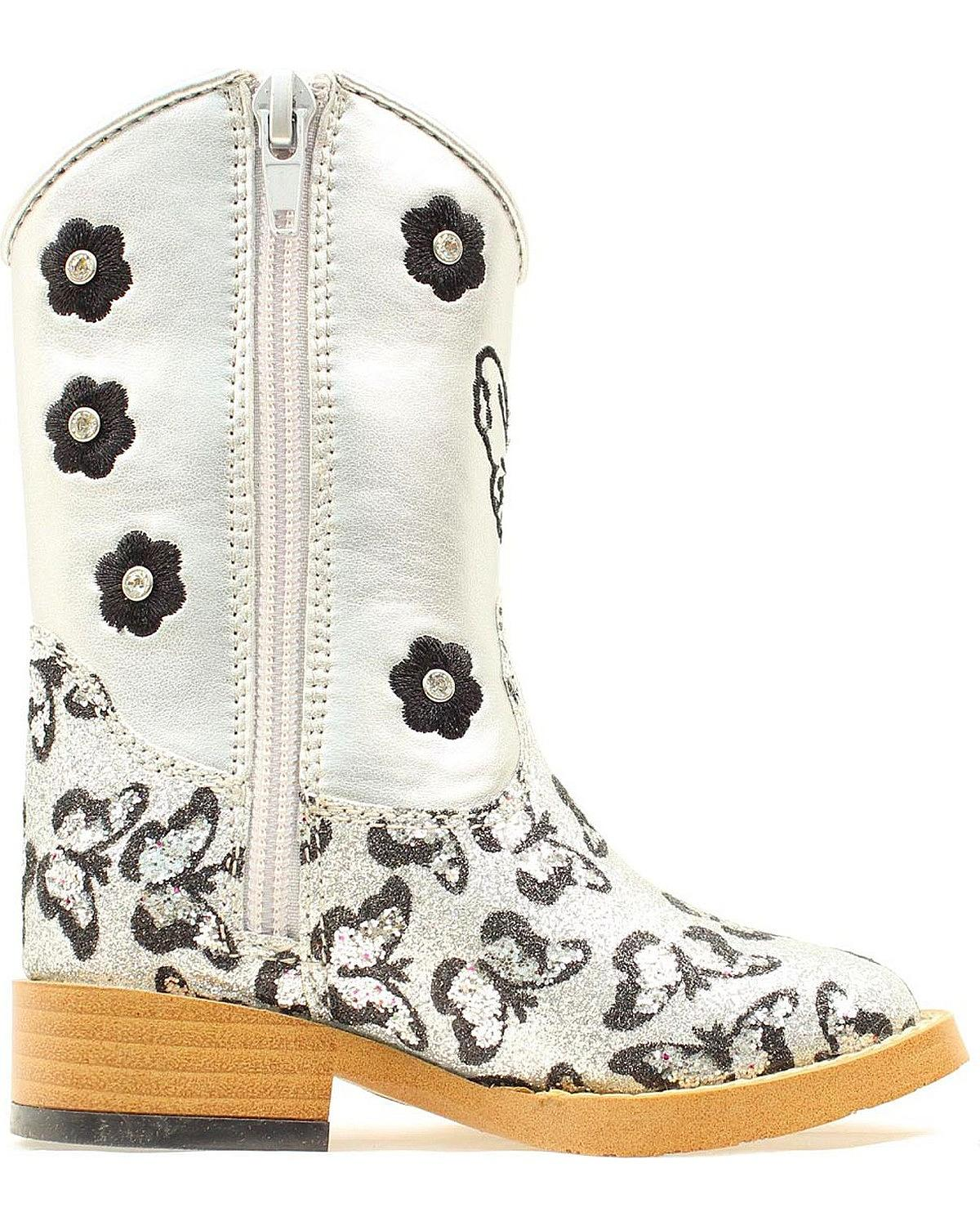 Blazin Roxx Toddler-Girls/' Pecos Glitter Zipper Cowgirl Boot Square Toe