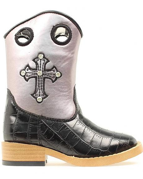 Blazin Roxx Toddler Girls' Sonora Croc Print Zipper Cowgirl Boots - Square Toe