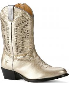 Frye Girls' Gold Rodeo Cowboy Boots - Round Toe