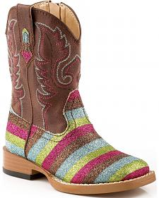 Roper Toddler Glittlery Striped Cowgirl Boots - Square Toe