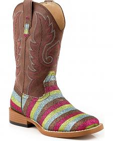 Roper Children's Glittery Striped Cowgirl Boots - Square Toe