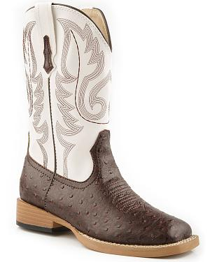 Roper Youth Faux Ostrich Print Cowboy Boots