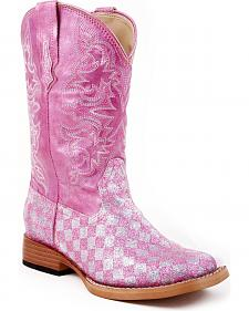 Roper Youth Girls' Glittery Checkerboard Cowgirl Boots