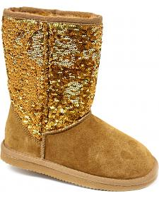 Dije California Girls' Sequin Sheepskin Classic Boots