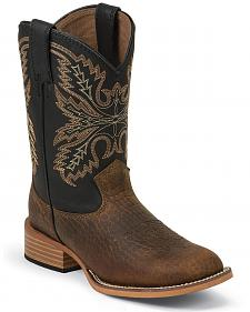 Justin Bent Rail Youth Midnight Coyote Cowboy Boots - Square Toe