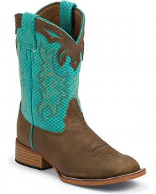 Justin Bent Rail Youth Turquoise Diamond & Brown Cowboy Boots - Square Toe