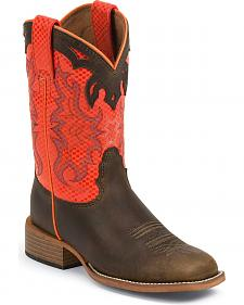 Justin Bent Rail Kids' Orange Diamond Apache Cowboy Boots - Square Toe