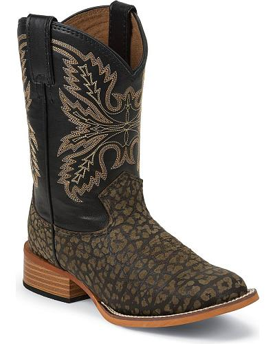 Justin Bent Rail Kids Haystone Cowboy Boots Square Toe Western & Country 384JR_C