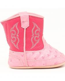 Blazin Roxx Infant Girls' Kinsley Pink Faux Ostrich Cowgirl Booties