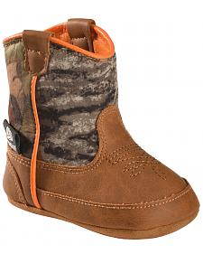 Double Barrel Infant Boys' Gunner Mossy Oak Cowboy Booties