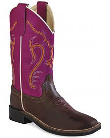 Old West Youth Girls' Colorful Western Cowboy Boots - Square Toe