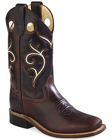 Old West Kids' Brown Swirl Western Cowboy Boots - Square Toe