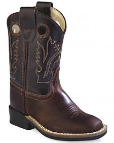 Old West Toddler Boys' Brown Western Cowboy Boots - Square Toe