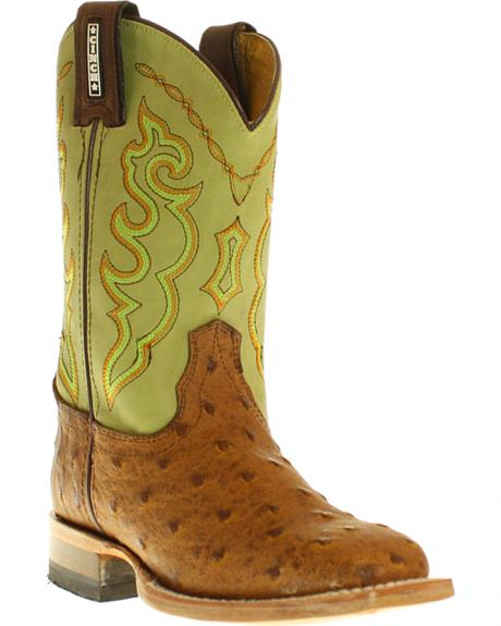 Cinch Youth Boys' Full Quill Ostrich Print Boots- Square Toe