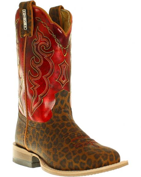 Cinch Girls' Leopard Print Boots - Square Toe