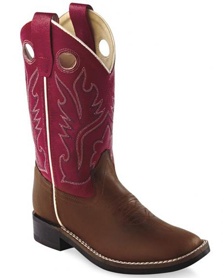 Old West Boys' Red Cowboy Boots - Square Toe