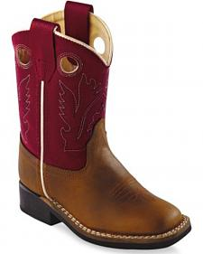 Old West Toddler Boys' Red Cowboy Boots - Square Toe