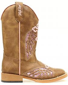 Blazin Roxx Girls' Gracie Wings and Cross Inlay Boots