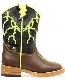 Double Barrel Boys' Ace Lightning Bolt Cowboy Boots - Round Toe