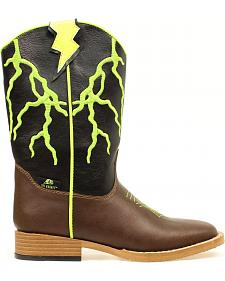 Double Barrel Boys' Ace Lightning Bolt Cowboy Boots - Square toe