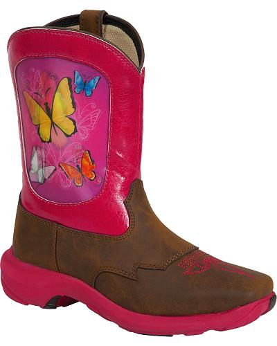 Durango Infants Butterfly Lenticular Western Boots Square Toe Western & Country DWBT012