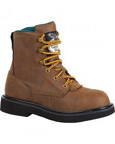 Georgia Boys' Leather Lace-Up Work Boots
