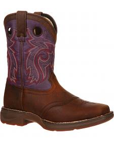 Durango Boys' Plum Saddle Western Boots - Square Toe
