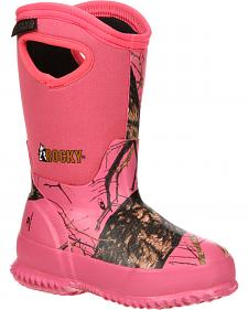 Rocky Girls' Core Pink Camo Waterproof Insulated Rubber Boots - Round Toe