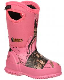 Rocky Youth Girls' Core Pink Camo Waterproof Insulated Rubber Boots