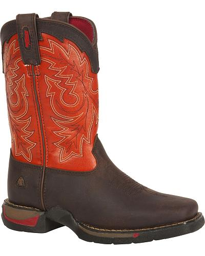 Rocky Kids Long Range Orange Western Boots Square Toe Western & Country RW042_C