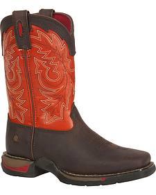 Rocky Youth Long Range Orange Western Boots - Square Toe