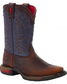 Rocky Youth Long Range Blue Western Boots - Square Toe