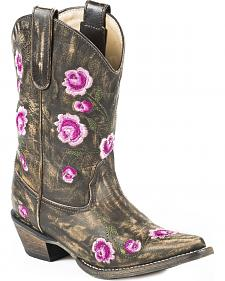 Roper Girls' Pink Rosey Cowgirl Boots - Snip Toe