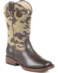 Roper Boys' Camo Cowboy Boots - Square Toe