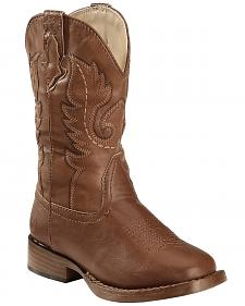 Roper Boys' Brown and Tan Texson Boots - Square