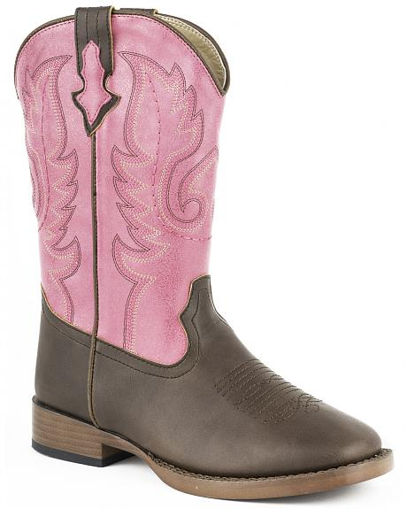 Roper Girls' Texsis Pink Cowgirl Boots - Square Toe