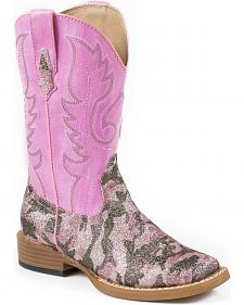 Roper Girls' Pink Camo Print Cowgirl Boots - Square Toe