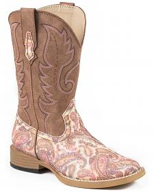 Roper Girls' Pink Paisley Print Cowgirl Boots - Square Toe