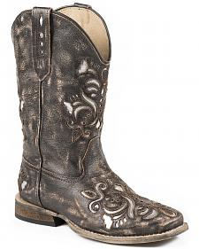 Roper Girls' Belle Silver Underlay Cowgirl Boots - Square Toe