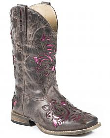 Roper Girls' Pink Belle Underlay Cowgirl Boots