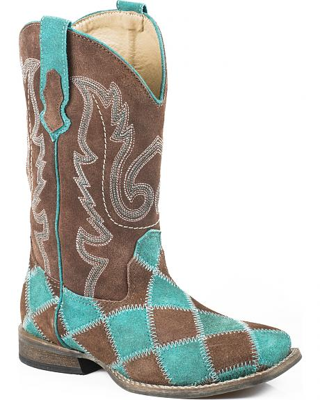 Roper Girls' Turquoise Patchwork Cowgirl Boots - Square Toe