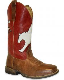 Roper Boys' Broc Rider Inlay Boot - Wide Square Toe