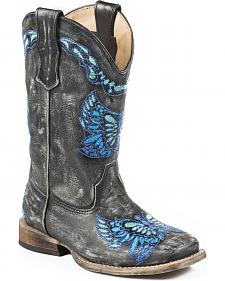 Roper Girls' Butterfly Cowgirl Boots - Square Toe