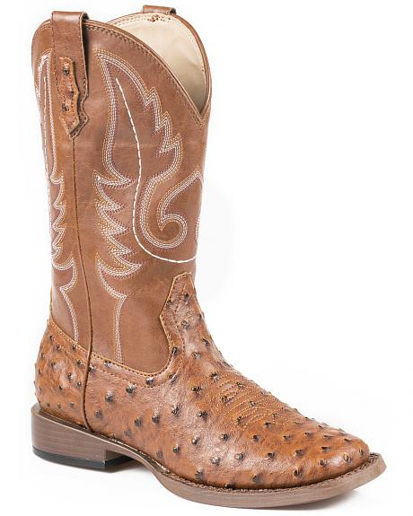 Roper Youth Boys' Ostrich Print Cowboy Boots - Square Toe