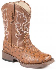 Roper Toddler Ostrich Print Cowboy Boots - Square Toe