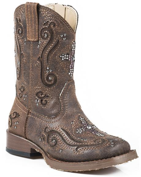 Roper Toddler Girls' Pink Crystal Cross Inlay Cowgirl Boots - Square Toe