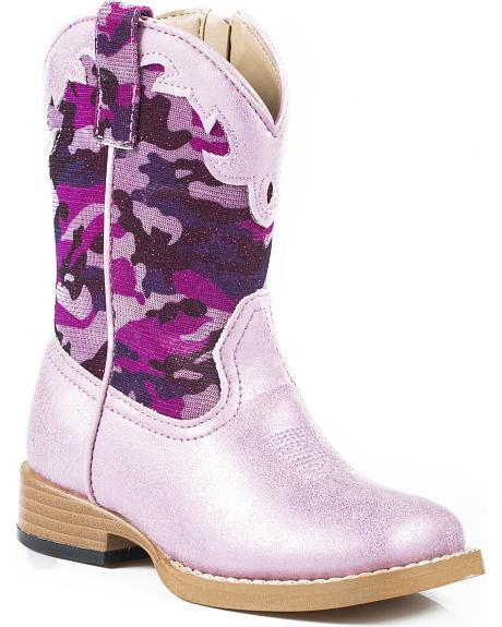 Roper Toddler Girls' Glitter Camo Cowgirl Boots - Square Toe