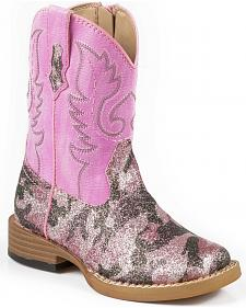 Roper Toddler Pretty Pink Camo Cowgirl Boots - Square Toe